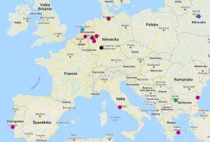 Mapa aktuálních linek z Vídně